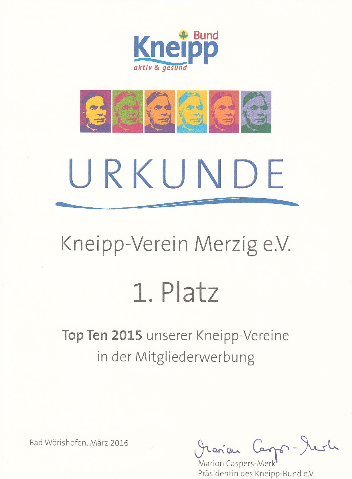 Urkunde 1. Platz Top Ten 2015